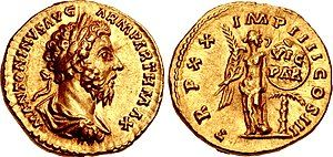 Coin of Marcus Aurelius. Victoria appears on the reverse, commemorating Marcus's Parthian victory.