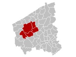 迪克斯梅德区在西佛兰德省的位置