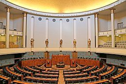 The seat of the legislature is the Parliament House in Helsinki