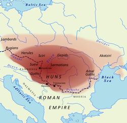 Territory under Hunnic control circa 450 AD