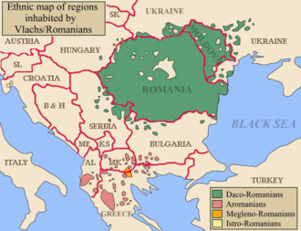 Map of Southeastern Europe, depicting the modern borders and the places where Balkan Romance languages were recently spoken