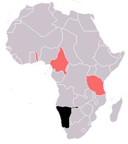 德属西南非洲(黑色)与其他德国殖民地(红色)