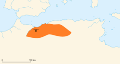 The approximate extent of the Mauro-Roman Kingdom prior to its collapse after the defeat of Garmul.
