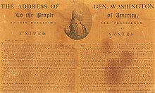 Newspaper showing Washington's Farewell Address