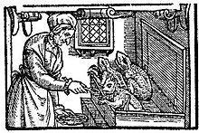 Witch feeding toads