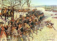 Left foreground, curving into the center, double line of Continental infantry, braced with their muskets and bayonets held at the ready; in the left background, US cavalry is charging towards lines of British infantry in the right background; immediately behind the US infantry is the occasional sergeant in formation; behind the line are two mounted US officers under a winter tree.