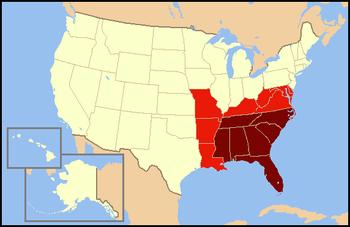 """美国东南部的定义通常包括暗红色区域。浅红色也偶尔被认为是""""东南""""。"""