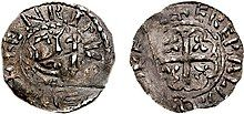 A photograph of a silver penny coin of Henry of Northumbria