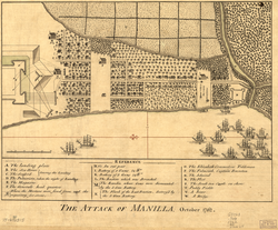 """The Attack of Manilla, October 1762"", depicting the British capture of Manila"