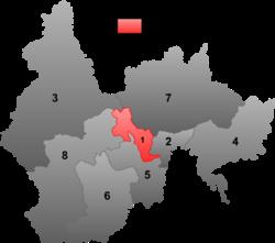 延吉市(红色区域)在延边朝鲜族自治州的地理位置