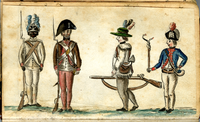 """A scene of four uniformed soldiers of the Continental 1st Rhode Island Regiment. On the left, a black and a white soldier formally at """"Attention"""" with Brown Bess muskets; on the right, a downcast white soldier walking back into formation with an officer barking at him holding a cat-o-nine tails for flogging."""