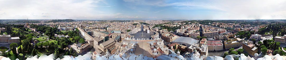 360-degree view from the dome of St. Peter's Basilica, looking over the Vatican's Saint Peter's Square (centre) and out into Rome, showing Vatican City in all directions
