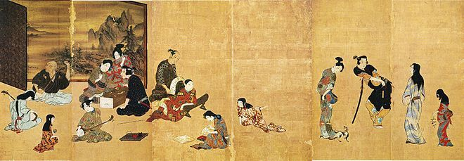 A folding screen painted with Japanese figures at play against a gold background