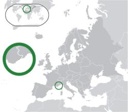 Location ofMonaco(green) in Europe(green & dark grey)