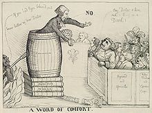 """Caricature of a man preaching out of a barrel labelled """"Fanaticism"""", stacked up on books labelled """"Priestley's works"""" to a crowd, while the devil sneaks up on him."""