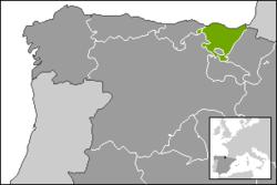 巴斯克自治区在西班牙北部的位置