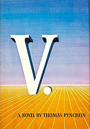 """Book cover illustration of the letter """"V."""" on an abstract horizon"""