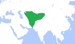 公元500年,嚈哒帝国极盛疆域。