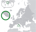 Map showing Vatican City in Europe