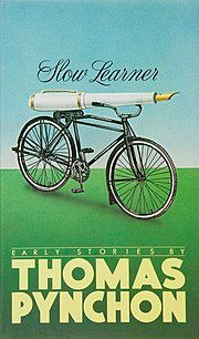 Book cover illustration of a massive white fountain pen seated on a bicycle