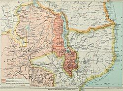 Map of southern Africa, 1897. The British Central Africa Protectorate is shaded dark pink.