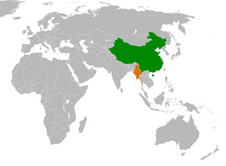 PRC和Burma 在世界的位置