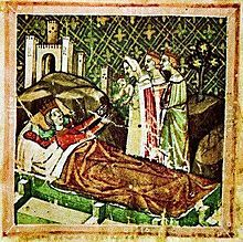 A crowned woman lying in a bed and stretches her hands towards a crowned baby held by a woman