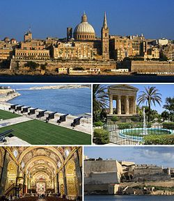 From top: Skyline, Saluting Battery, Lower Barrakka Gardens, St. John's Co-Cathedral and the city walls