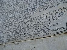 The verse inscription at Virgil's tomb.