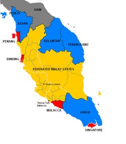 1922年的英属马来亚,黄色为马来联邦,红色为海峡殖民地,蓝色为马来属邦