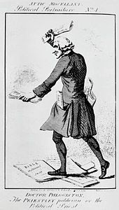 Caricature of man in frock coat and wig trampling on sacred documents and burning others.