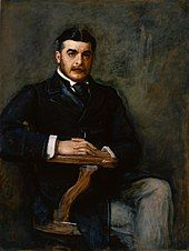 Painting of Sullivan, seated with one leg crossed over the other, looking intently at the artist