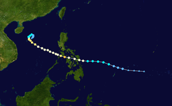 台风尤特的路径图