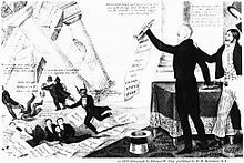 Banker Nicholas Biddle, portrayed as the devil, along with several speculators and hirelings, flee as the bank collapses while Jackson's supporters cheer.