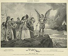 """A reproduction of the print entitled Völker Europas, wahrt eure heiligsten Güter (""""Peoples of Europe, guard your dearest goods,"""" 1895) or The Yellow Peril painting with an armed angel showing armed women a fiery battle."""