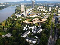 """A view over the Bundesviertel (English: """"Federal Quarter"""": the location of the German federal government presence in Bonn)"""