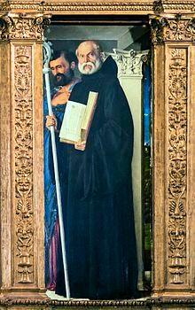 Frari (Venice) - Sacristy - triptych by Giovanni Bellini - Saint Benedict of Nursia and Saint Mark.jpg