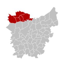 埃克洛区在东佛兰德省的位置