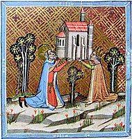 An elderly man and women, each wearing a crown, raise a church.