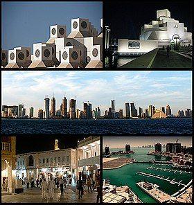 从上:卡塔尔大学、伊斯兰艺术博物馆、多哈天际线、瓦其夫市场(英语:Souq Waqif)、卡塔尔的珍珠岛