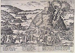 A castle stands at the top of a steep hill, and its walls are being blown away in explosion and fire. The fortress is surrounded by mounted and foot soldiers and several units of mounted soldiers are racing up the hill toward the castle on its peak. Frans Hogenberg, a Dutch engraver, and artist of the 16th century, was living in the Electorate of Cologne during the war, and engraved this picture of the destruction of the Godesburg (fortress).