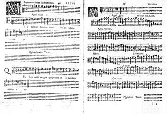 Two pages of printed music, an alto part left, the corresponding basso continuo right, with names of other instruments right