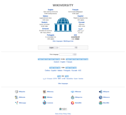 Detail of the Wikiversity multilingual portal main page.