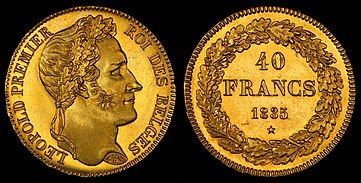 Leopold on a 40 franc coin (1835)