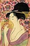 Colour print of a closeup of a heavily made-up mediaeval Japanese woman peering through a translucent comb.