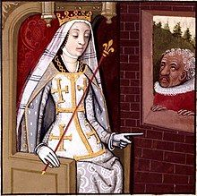 A crowned women wearing a long veil sits on a throne at a window through which an old man watches him