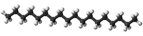 Ball-and-stick model of the octadecane molecule