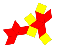 Squared rhombic dodecahedron net.png