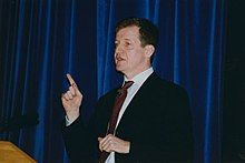 Photograph of Alastair Campbell delivering a lecture