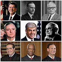 Collage of nine American conservatives: Ronald Reagan, Calvin Coolidge, Barry Goldwater, William F. Buckley Jr., Jack Kemp, Milton Friedman, Antonin Scalia, Clarence Thomas, Samuel Alito